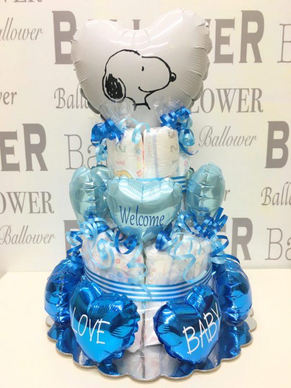 スヌーピー blue おむつケーキ