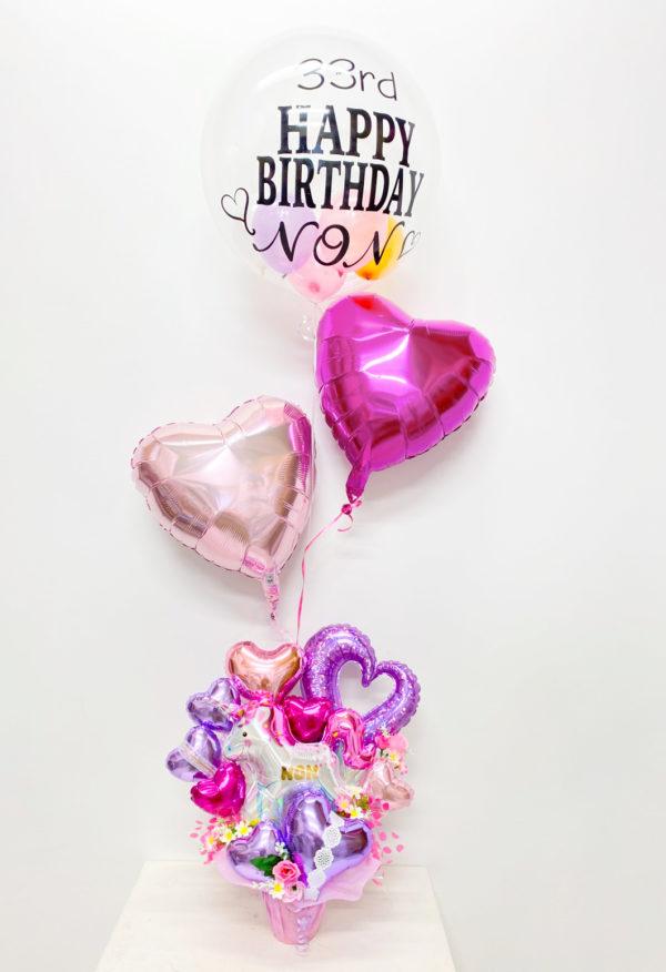 Pink ハート&ユニコーン オリジナルヘリウムバルーン付