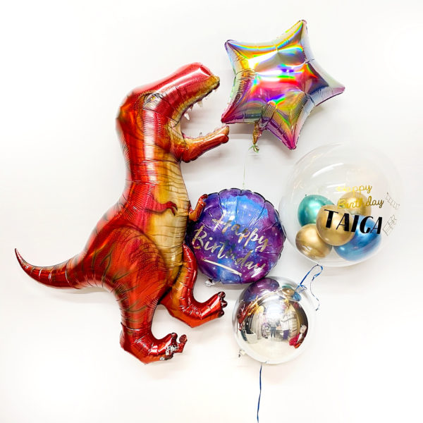 Happy Birthday Dinosaur Green and Purple ヘリウムバルーン