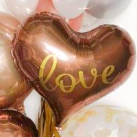 Brown Heart Love and Birthday オリジナルバルーン入りブーケ