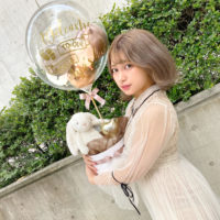 大人気ラテカラー with White Rabbit Baby Shower Round Box