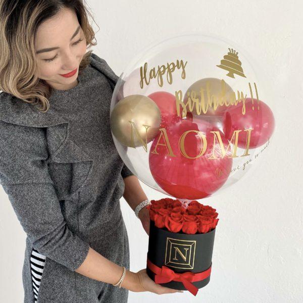 プリザーブドフラワー Red and Black Box Bubble Balloon