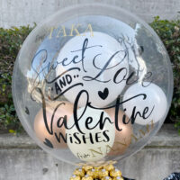 Valentines gold chocolate and Black Box Bubble Balloon