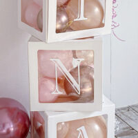 Macaron Pink and Chrome Rose Pink Box balloon&Original print【DIY手作りセット(1個〜)】