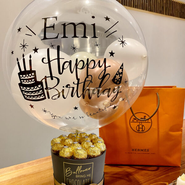 Gold chocolate and Black Box with Original Bubble Balloon